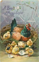A BRIGHT AND HAPPY EASTER  brown/blue-necked hen in a basket, seven chicks