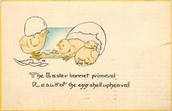 THE EASTER BONNET PRIMEVAL RESULT OF THE EGG SHELL UPHEAVAL  three newly hatched chicks & shells