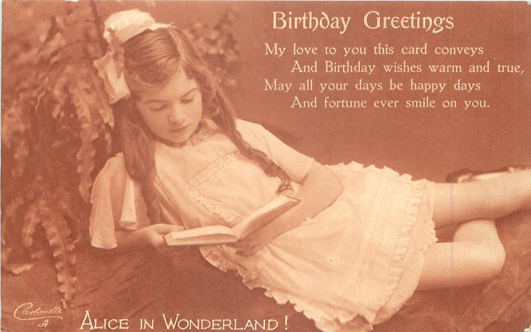 BIRTHDAY GREETINGS girl looks down reading book