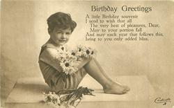 BIRTHDAY GREETINGS  boy with armful of daisies sits facing right, looking front
