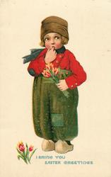 I BRING YOU EASTER GREETINGS  Dutch boy with finger in mouth holding tulips