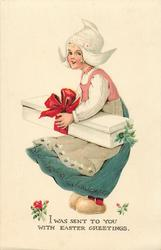 I WAS SENT TO YOU WITH EASTER GREETINGS  Dutch girl carrying heavy box tied with red bow
