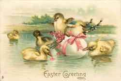 EASTER GREETINGS  two chicks in egg boat, pink ribbon & flowers, ducklings around