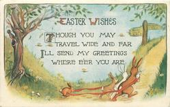EASTER WISHES  four rabbits walk right with ribbon