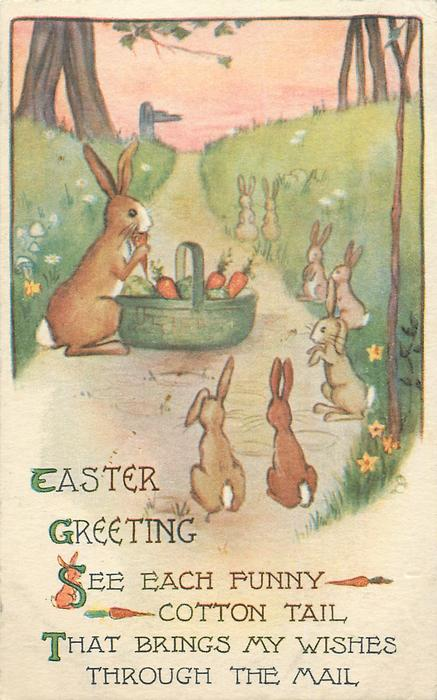 EASTER GREETING  rabbit with basket of vegetables, many others around
