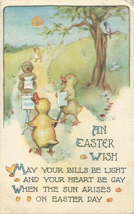 AN EASTER WISH  three ducklings sing on path