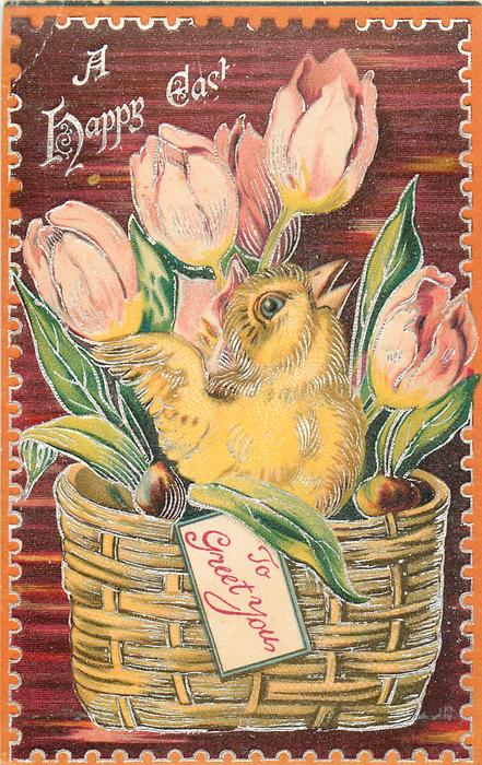 A HAPPY EASTER  chick in basket with TO GREET YOU on label, pink/yellow tulips, red  background