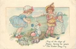 MAY ALL THE JOYS OF HAPPY SPRING BE YOURS THIS EASTER DAY  three children & rabbits