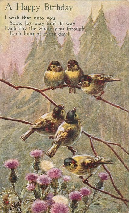 A HAPPY BIRTHDAY six finches above thistles