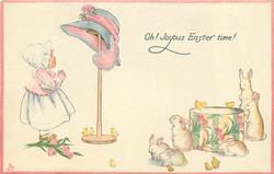 OH! JOYOUS EASTER TIME!  small girl looks up admiringly at large EASTER bonnet, rabbits & chicks around