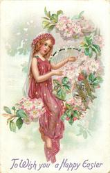 TO WISH YOU A HAPPY EASTER  fairy plays harp sitting among apple blossom, birds accompany