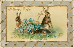 A HAPPY EASTER  three rabbits & cart of blue forget-me-nots
