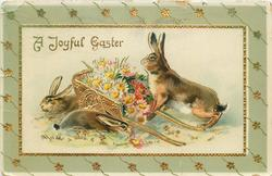 A JOYFUL EASTER  three rabbits & cart of daisies