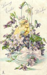 LOVING EASTER WISHES  chick faces right in basket of violets