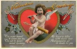 VALENTINE GREETINGS cupid plays pipe