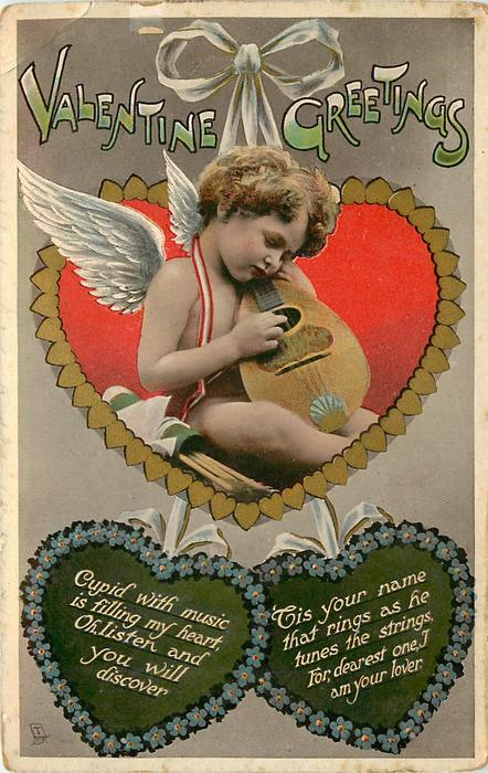 VALENTINE GREETINGS, cupid plays mandolin