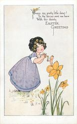 EASTER GREETING  tiny elf on daffodil offers potted daffodil to girl in violet dress