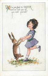 WE'RE JUST GLAD IT'S EASTER AND WE WISH YOU ALL YOU WISH YOURSELF  girl in mauve dress dancing with rabbit
