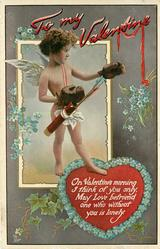ON VALENTINE'S MORNING I THINK OF YOU ONLY, MAY LOVE BEFRIEND ONE WHO WITHOUT YOU IS LONELY  cupid wears boxing-gloves