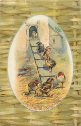 A JOYFUL EASTER-TIDE  egg shaped insert of chicks walking up plank to barn, plaited fence surround