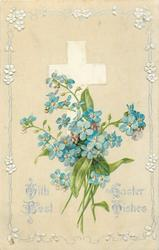 WITH BEST EASTER WISHES  blue forget-me-nots in front of white cross