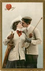 TO MY VALENTINE  A MATCH WELL WON  golfers kiss