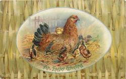 AN EASTER GREETING  egg shaped inset of hen on nest with chicks around, plaited fence surround