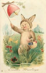 EASTER GREETINGS  child dressed as rabbit rings bell