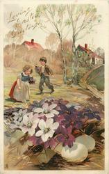 girl and boy pick flowers, violets almost cover three eggs