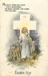 EASTER JOY  white cross, lambs, holy shepherd
