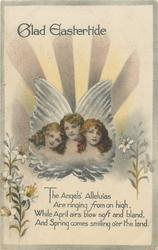 GLAD EASTERTIDE  three angels head & shoulder, lilies