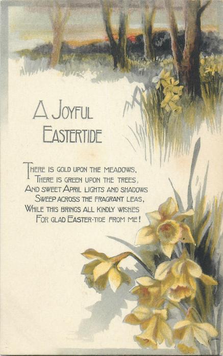 A JOYFUL EASTERTIDE  tree trunks, daffodils