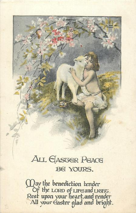 ALL EASTER PEACE BE YOURS  child with lamb under blossom