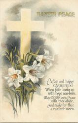 EASTER PEACE  white cross, Easter lilies