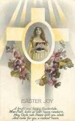 EASTER JOY  cross, violets, central inset of girl