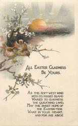 ALL EASTER GLADNESS BE YOURS  sunset, two wrens on blossom branch
