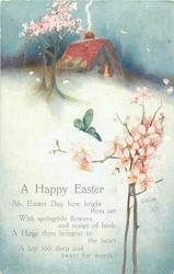 A HAPPY EASTER  spring snow scene, rose/blossom tree, lighted cottage, butterfly