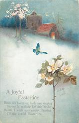 A JOYFUL EASTERTIDE  spring snow scene,rose blossom tree, lighted cottage, church, butterfly