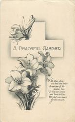 A PEACEFUL EASTER  Easter lilies before cross