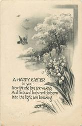 A HAPPY EASTER TO YOU  birds, lilies-of-the-vallet, trees