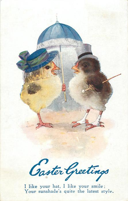 EASTER GREETINGS  two dressed chicks under parasol