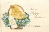 WITH BEST WISHES on label, FOR A HAPPY EASTER  FROM chick in basket with forget-me-nots