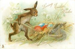LOVING EASTER WISHES  rabbit wheels barrow containing coloured eggs