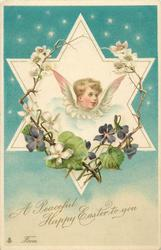 A PEACEFUL HAPPY EASTER TO YOU  angel in star looks right, violets & roses, flowers surround