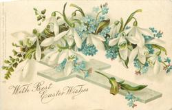 WITH BEST EASTER WISHES  snowdrops & forget-me-nots over cross