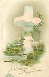 TO WISH YOU A HAPPY EASTER  lamb on edge of water, facing away, lily pads with flowers
