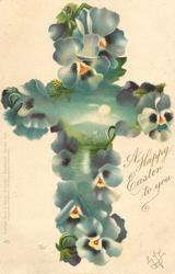 A HAPPY EASTER TO YOU  cross of pansies with watery landscape