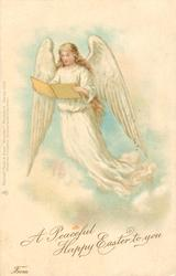 A PEACEFUL HAPPY EASTER TO YOU  angel reads text facing front left