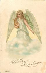 TO WISH YOU A HAPPY EASTER  angel with lyre in right arm