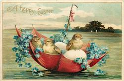 A HAPPY EASTER  chicks & eggs float in red umbrella boat with forget-me-nots